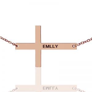 Rose Gold Plated Silver Latin Cross Necklace Engraved Name 1.25