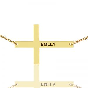 Gold Plated Silver Latin Cross Necklace Engraved Name 1.25