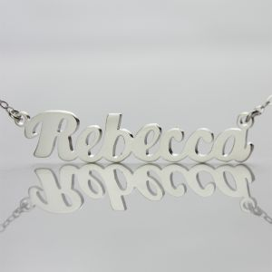 Personalized Solid White Gold Puff Font Name Necklace