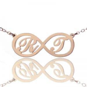 Infinity Necklace with Two Initial Rose Gold Plated 925 Silver