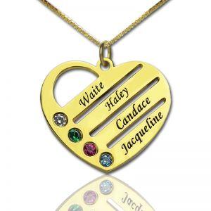 Collar personalizable con corazón y cuatro nombres y piedras de nacimiento bañado en oro de 18 quilates