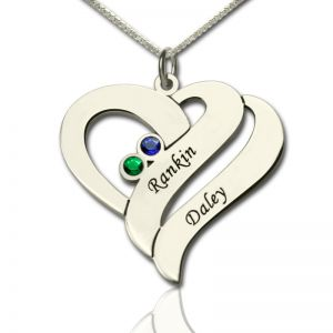Customizable Heart Necklace with Name & Birthstone for Couple
