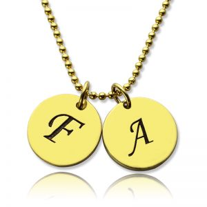 Personalized Initial Charm Discs Necklace 18k Gold Plated