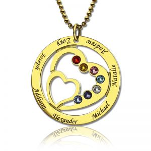 Circle Family Heart in Heart Birthstone Name Necklace Gold Plated