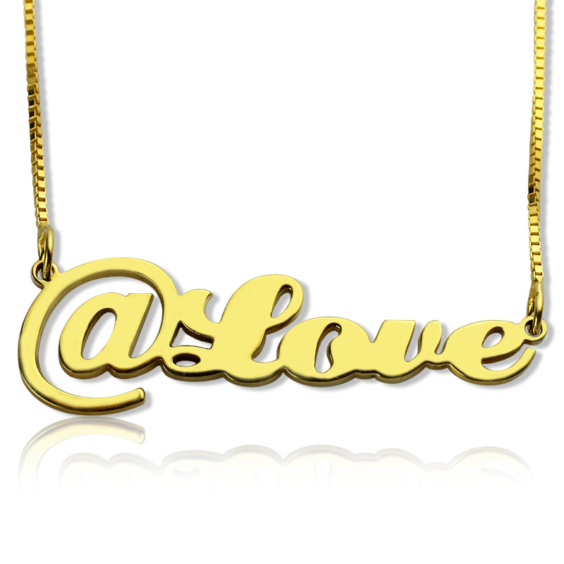 Twitter At Symbol Name Necklace 18K Gold Plated