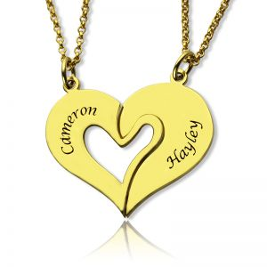 Double Name Heart Couple's Necklace Set 18K Gold Plated