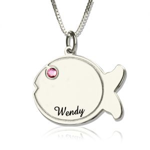 Fish Birthstone Necklace Engraved Name Sterling Silver