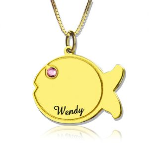 Kids Fish Name Necklace 18k Gold Plated