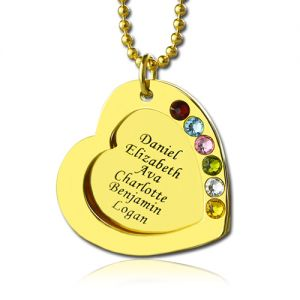 Heart Birthstones Family Names Necklace For Mother In Gold