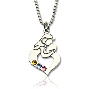 Personalized Mother & Child Necklace with Birthstones Silver