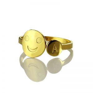 Personalized Smile Ring with Initial 18k Gold Plated