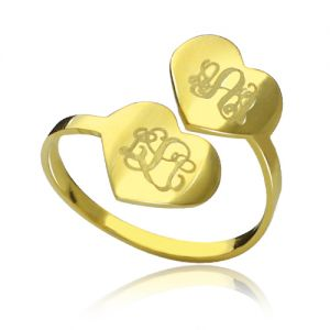 Double Heart Ring Engraved Monogram 18k Gold Plated