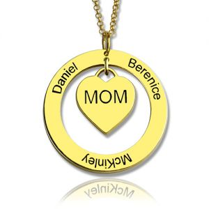 Circle Family Names Necklace For Mom Gold Plating
