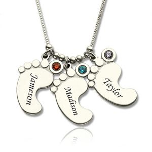 Cute Personalized Mother's Necklace Baby Feet Charm