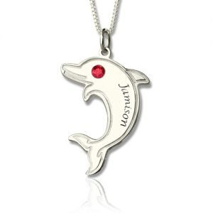Dolphin Necklace with Birthstone & Name Sterling Silver