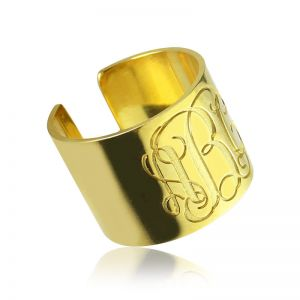 Script Monogram Cuff Ring Gift 18K Gold Plated