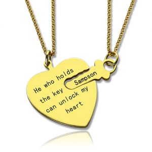 He Who Holds the Key Couple Necklace Set 18k Gold Plated
