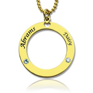 Circle of Love Name Necklace with Birthstone Gold Plated Silver