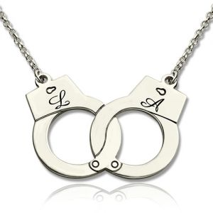 Valentine's Day Gift: Handcuff with Initial Silver Love Necklace