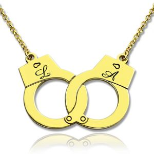 Personalized Handcuff Lovers Initial Necklace 18k Gold Plated