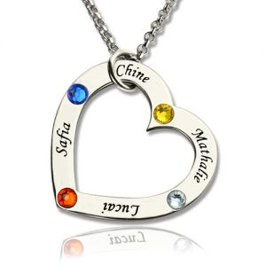 Mother's Heart Necklace with 4 Names & Birthstones Sterling Silver