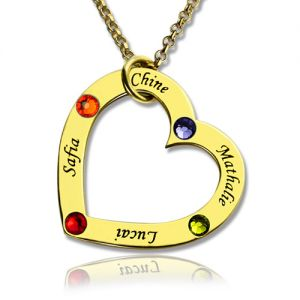 Gold Birthstone Heart Family Names Necklace For Mother
