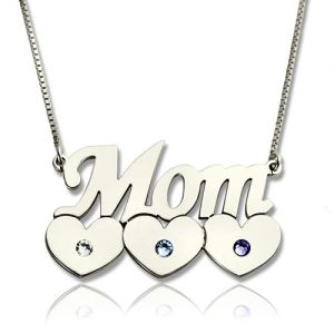 Mother Necklace With Children Hearts Birthstone Silver
