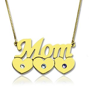 Mom's Necklace With Children Birthstone In Gold