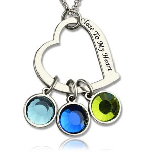 Lovely Open Heart Promise Phrase Necklace with Birthstone