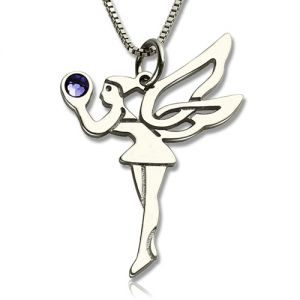 Personalized Fairy Birthstone Necklace for Girls Sterling Silver