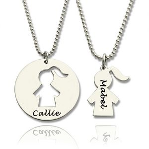 Mother Daughter Necklace Set Engraved Names Sterling Silver
