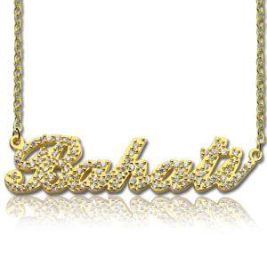 Custom 18K Gold Full Birthstones Carrie Name Necklace