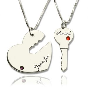 Delightful Key to My Heart Name Pendant Set For Couple Sterling Silver 925