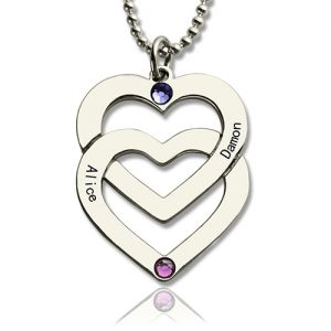 Double Heart Women's Necklace Engraved Names Sterling Silver