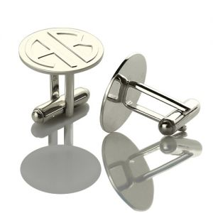 Cufflinks for Men: Disc Block Monogrammed Sterling Silver