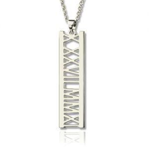Unique Roman Numerals Special Date Necklace Sterling Silver