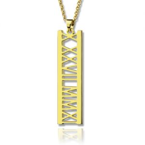 Vertical Roman Bar Necklace 18K Gold Plated
