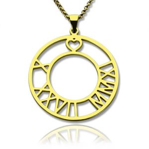 18K Gold Plated Roman Numeral Disc Heart Necklace