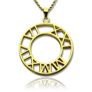 Double-Circle Roman Numeral Necklace Clock Design Gold Plated Silver
