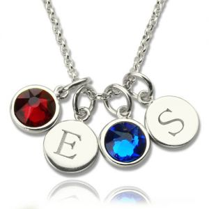 Colorful Personalized Double Initial Charm Necklace with Birthstones