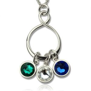 Personalized Infinity Birthstone Charm Necklace