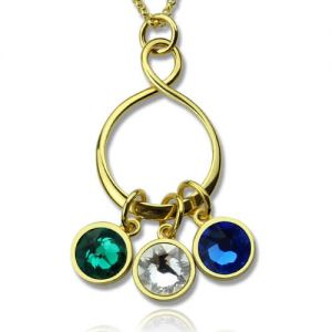 Personalized Family Infinity Necklace with Birthstones 18K Gold Plate