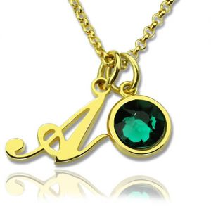 Custom Birthstone Initial Necklace 18k Gold Plated