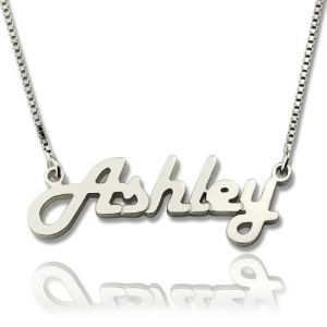 Beautiful Sterling Silver Retro Name Necklace