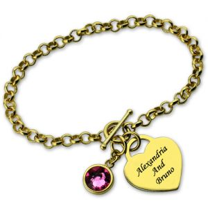 Gold Engravable Birthstone Bracelet with Heart & Name Charm