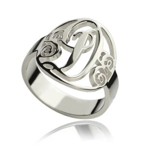 Custom Hand-cut Monogram Initial Ring Sterling Silver