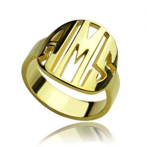 Personalized Block Circle Monogram Ring 18K Gold Plated