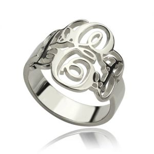 Personalized Fancy Monogram Ring Sterling Silver