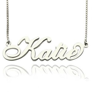 Personalized Carrie Nameplate Necklace Stering Silver