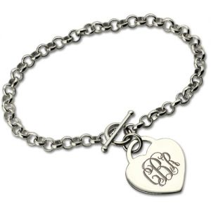 Valuable and Personalized Monogram Toggle Heart-Charm Bracelet